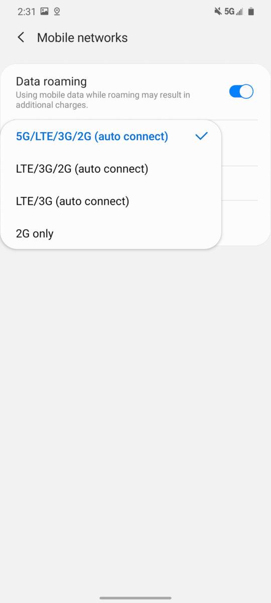 Samsung Galaxy S20 Ultra 5G settings