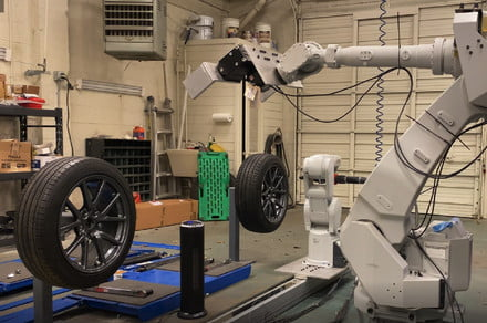 This robot will change your tires in a fraction of the time a mechanic can