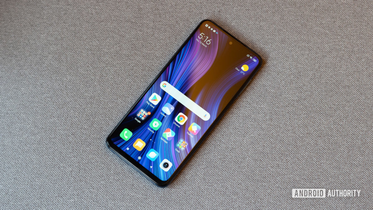Redmi Note 9 Pro profile shot with icons