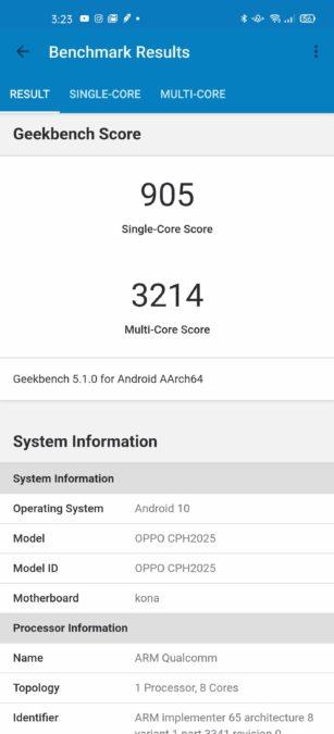 Oppo Find X2 Pro Geekbench 5 Score