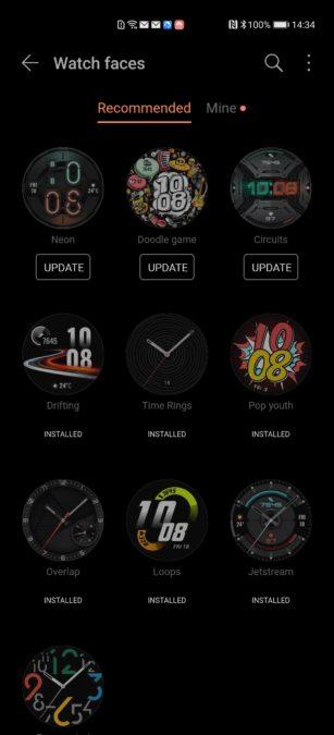 Huawei Health app Huawei Watch GT 2e watch faces