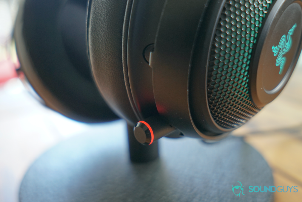 A detail shot of the Razer Kraken Ultimate's microphone