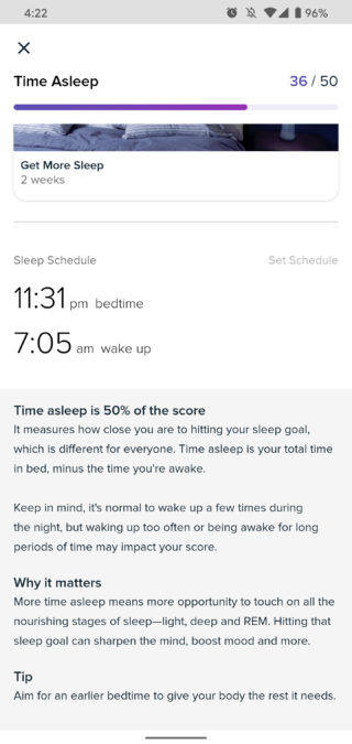 fitbit premium review time asleep 2