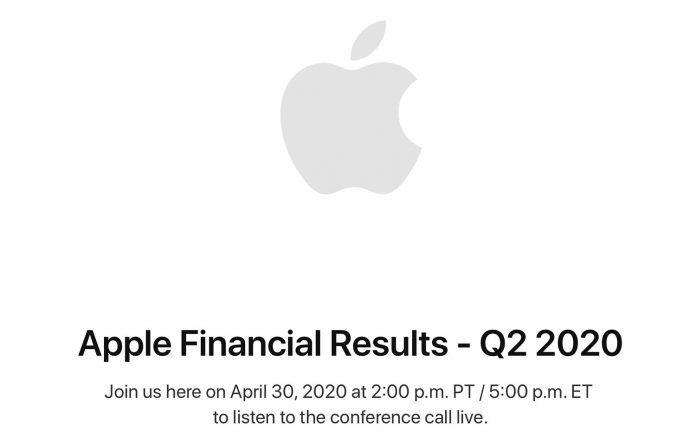Apple to Announce Q2 2020 Earnings on April 30