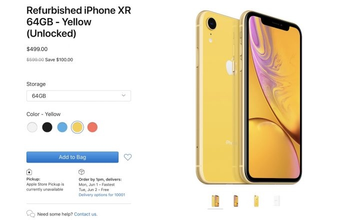 Apple Begins Selling Refurbished iPhone XR Models