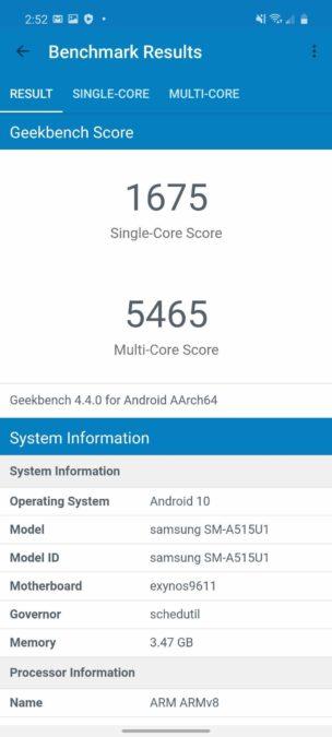 Samsung Galaxy A51 Geekbench 4 Benchmark