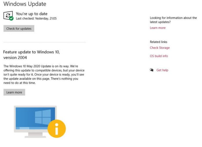 Windows 10 May 2020 update blocked on many Windows devices