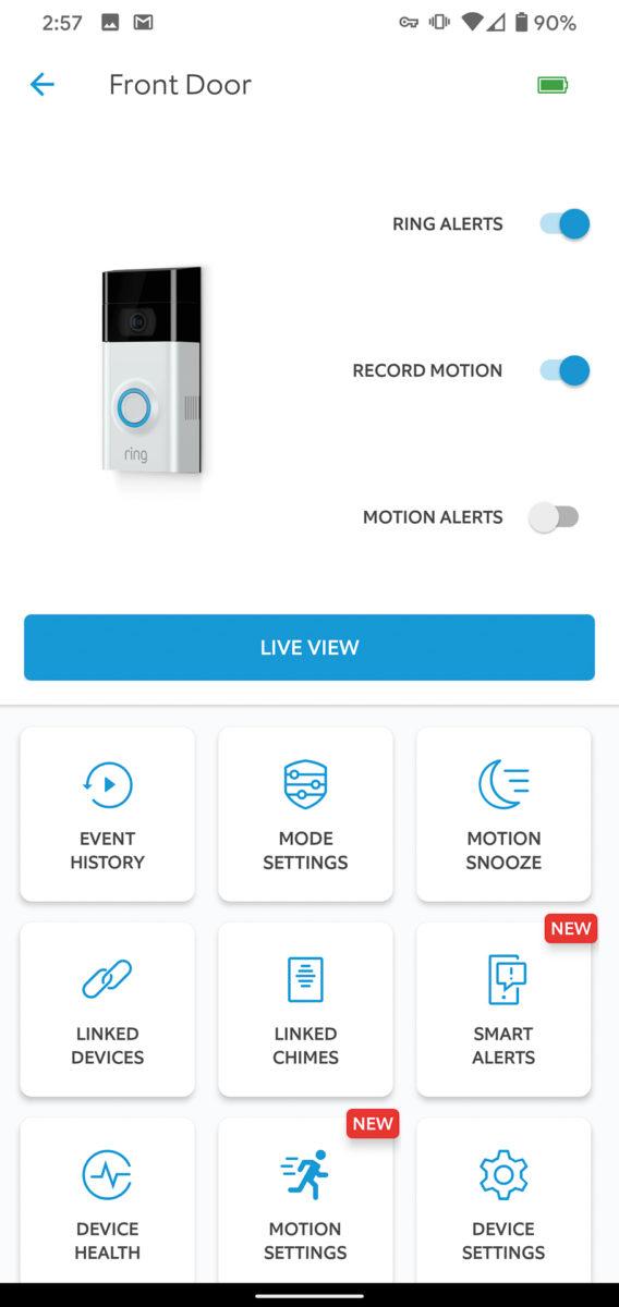 Ring Video Doorbell 3 Plus app device control screen