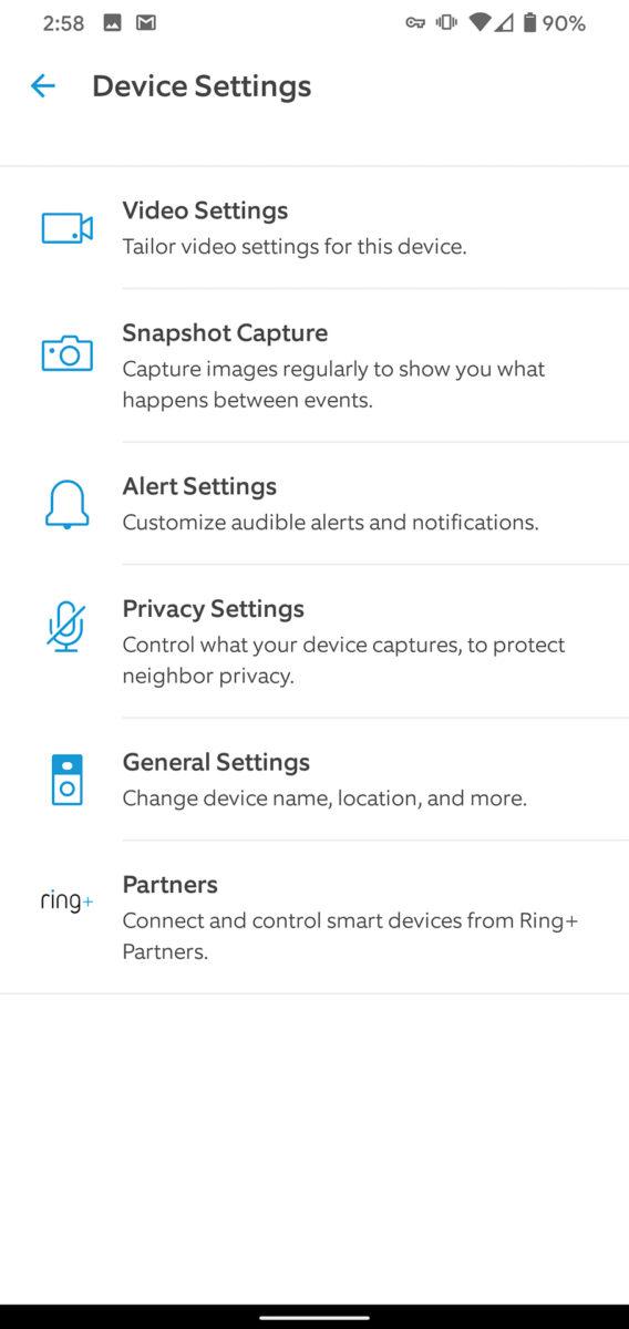 Ring Video Doorbell 3 Plus app device settings