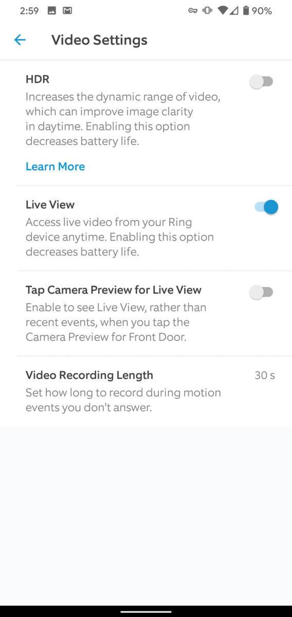 Ring Video Doorbell 3 Plus app video settings