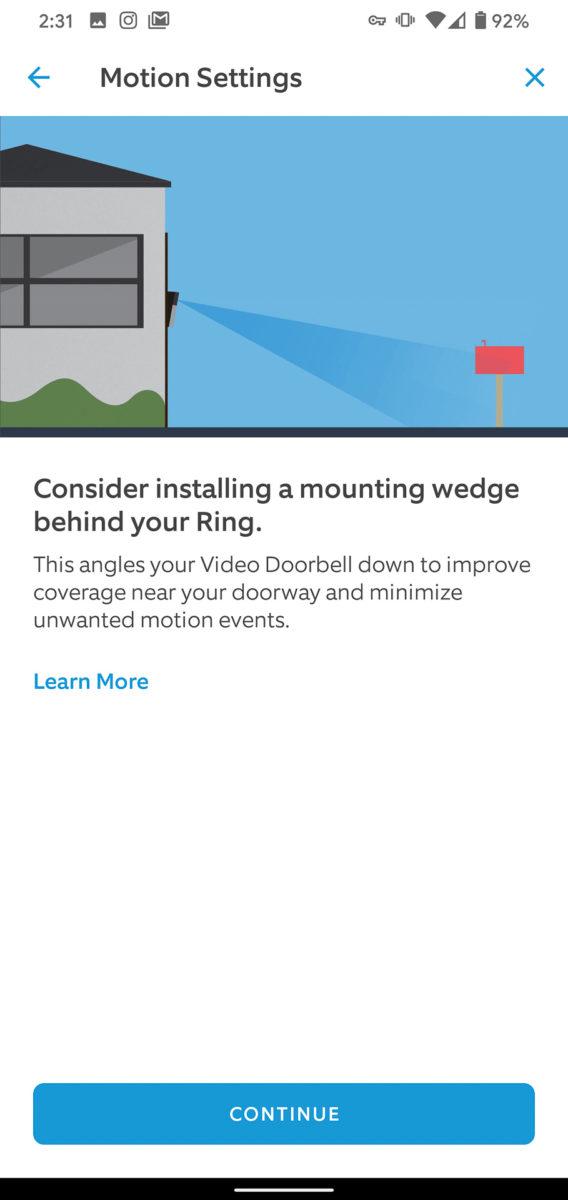 Ring Video Doorbell 3 Plus app set up wedge