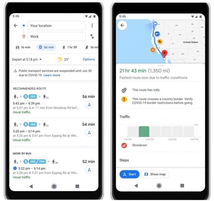 Google Maps Rolls Out COVID-19 Transit and Driving Route Alerts