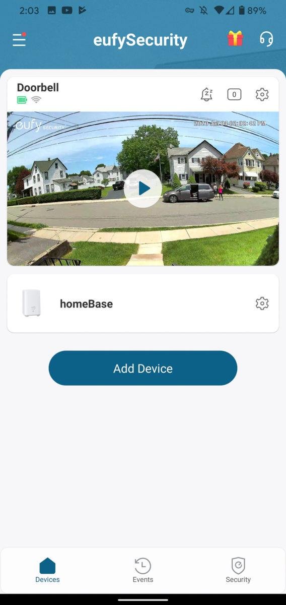 Eufy Video Doorbell main screen