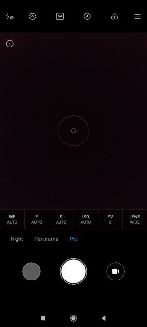 Poco F2 Pro camera app Pro mode