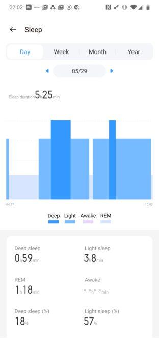 Realme Band sleep tracking