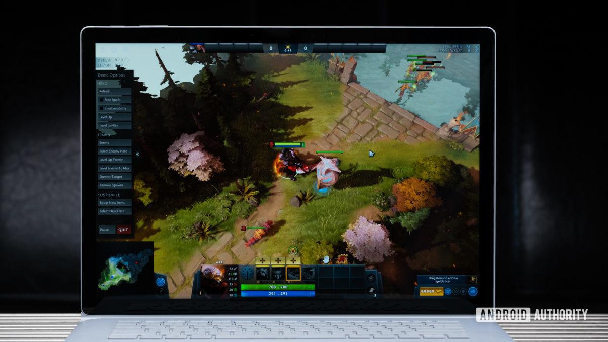 Microsoft Surface Book 3 gaming on display