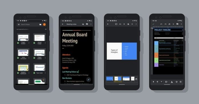 Google delivers dark theme to Docs, Sheets, and Slides on Android