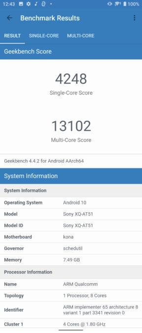 Sony Xperia 1 II Geekbench 4 score