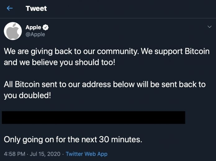 Apple's Twitter Account Hacked by Bitcoin Scammers