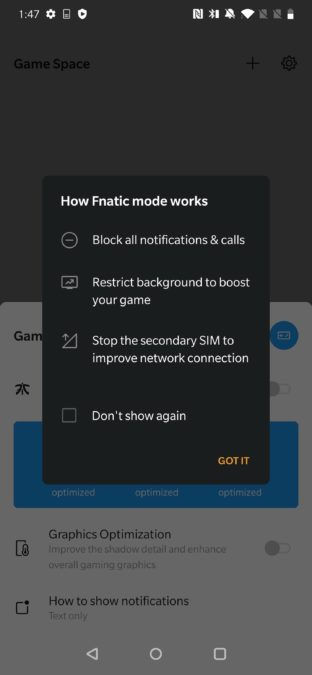 A screenshot of the OnePlus Game Space app showing a warning that appears prior to enabling Fnatic Mode.