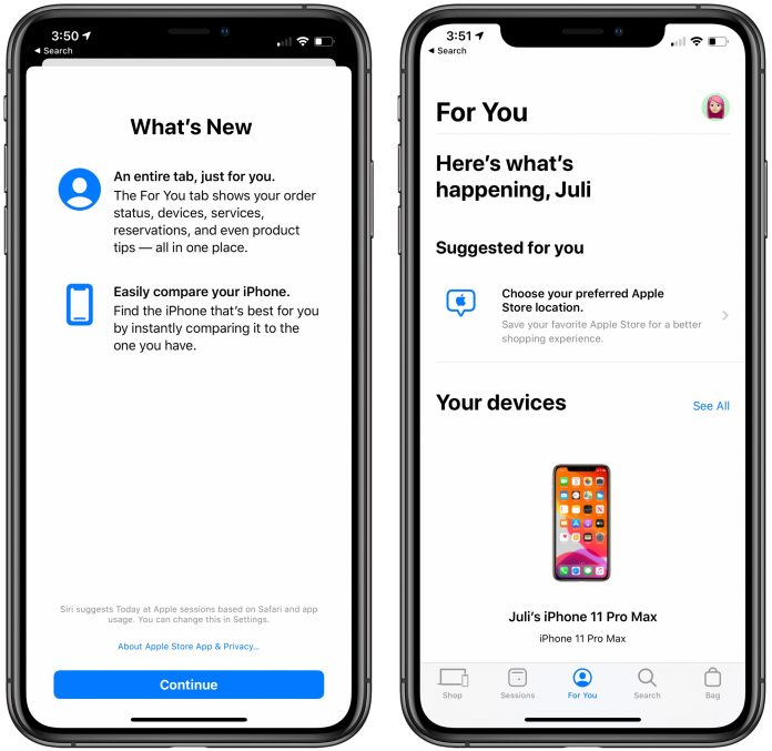 Apple Store App Now Offers iPhone Comparisons, New 'For You' Tab