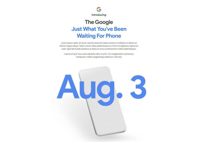 The Google Pixel 4a will finally be revealed on August 3