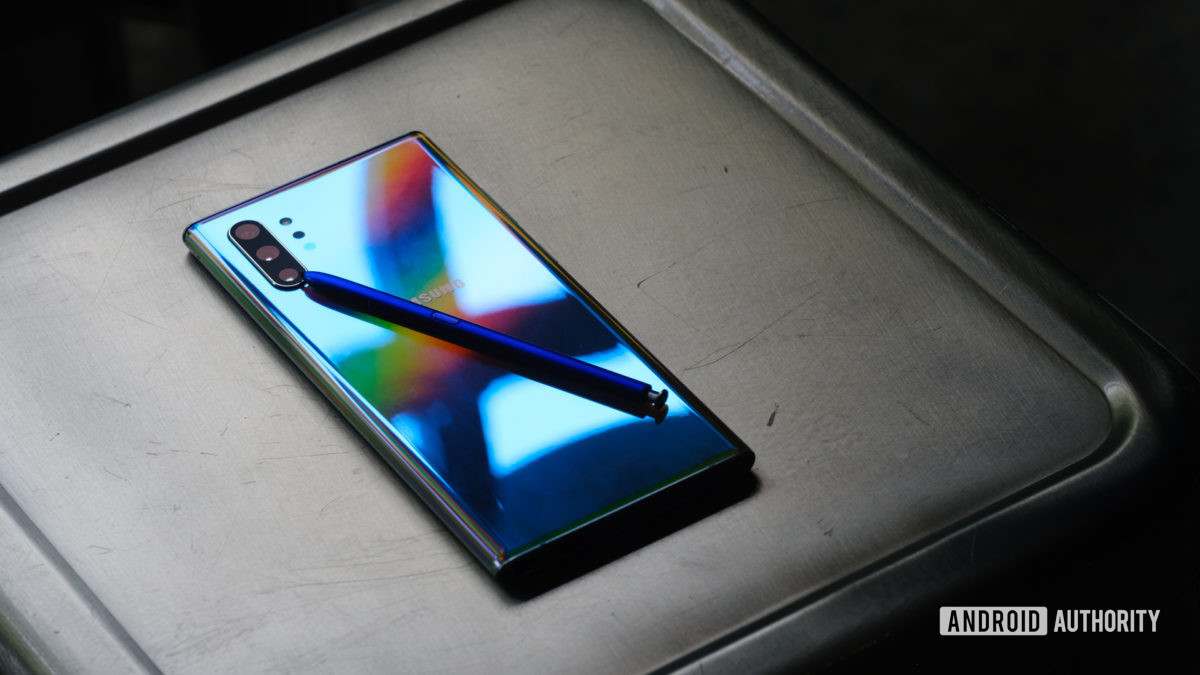 Samsung Galaxy Note 10 Plus on chair with s pen