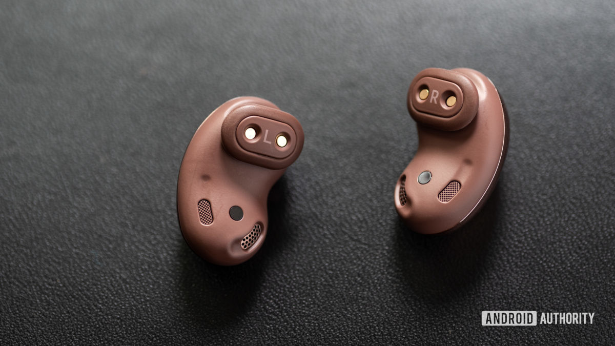A picture of the Samsung Galaxy Buds Live noise cancelling true wireless earbuds wing tips, air vents, and IR sensors.