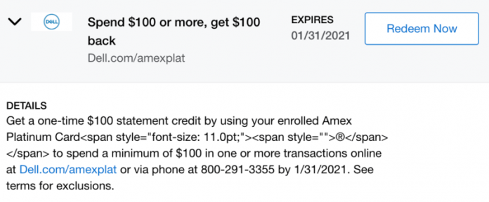 5 items to get with the new $100 Amex Platinum Dell statement credit