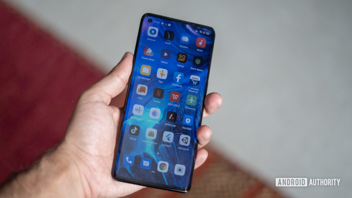 Oppo Reno 4 Pro with display in hand