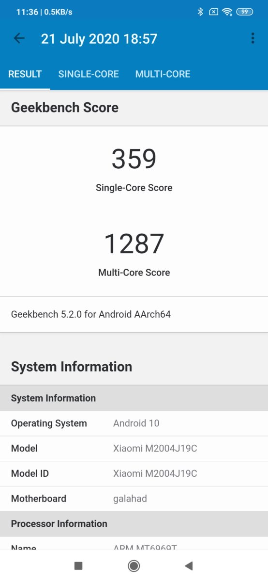 Redmi 9 Geekbench score