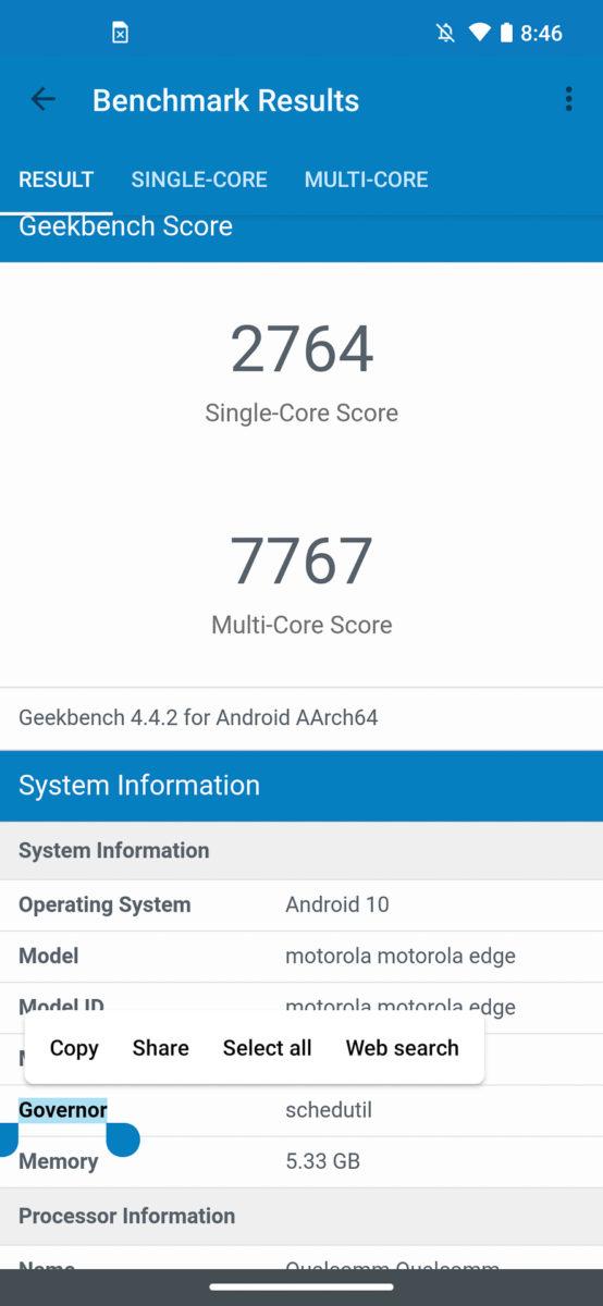 Motorola Moto Edge GeekBench