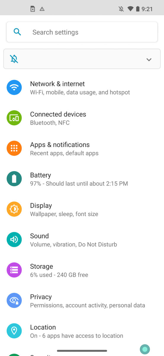 Motorola Moto Edge settings