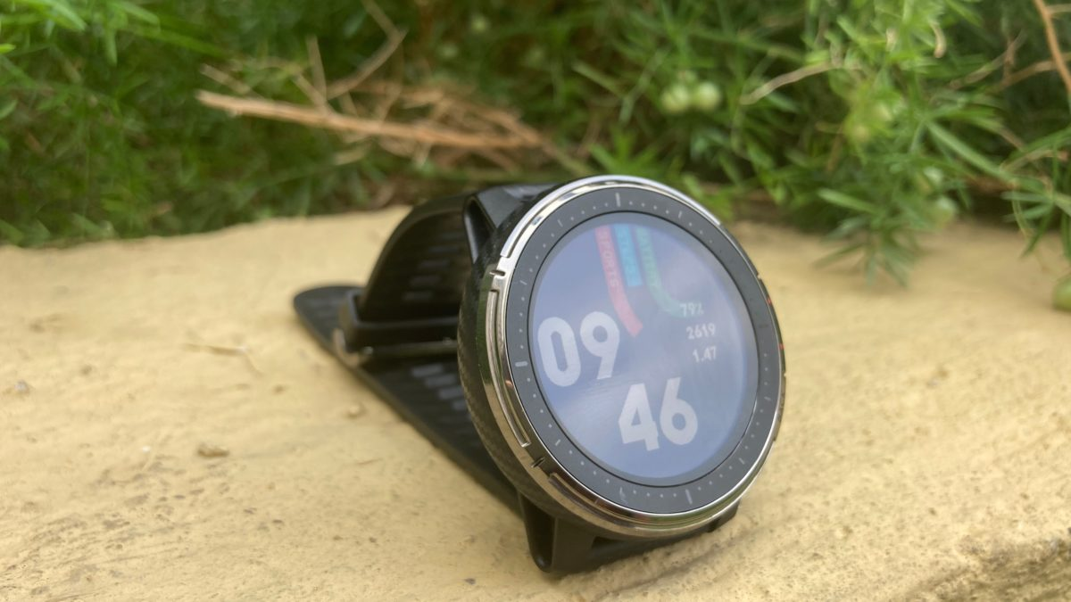 The Amazfit Stratos 3 kept on a ledge in a folded state showing its display