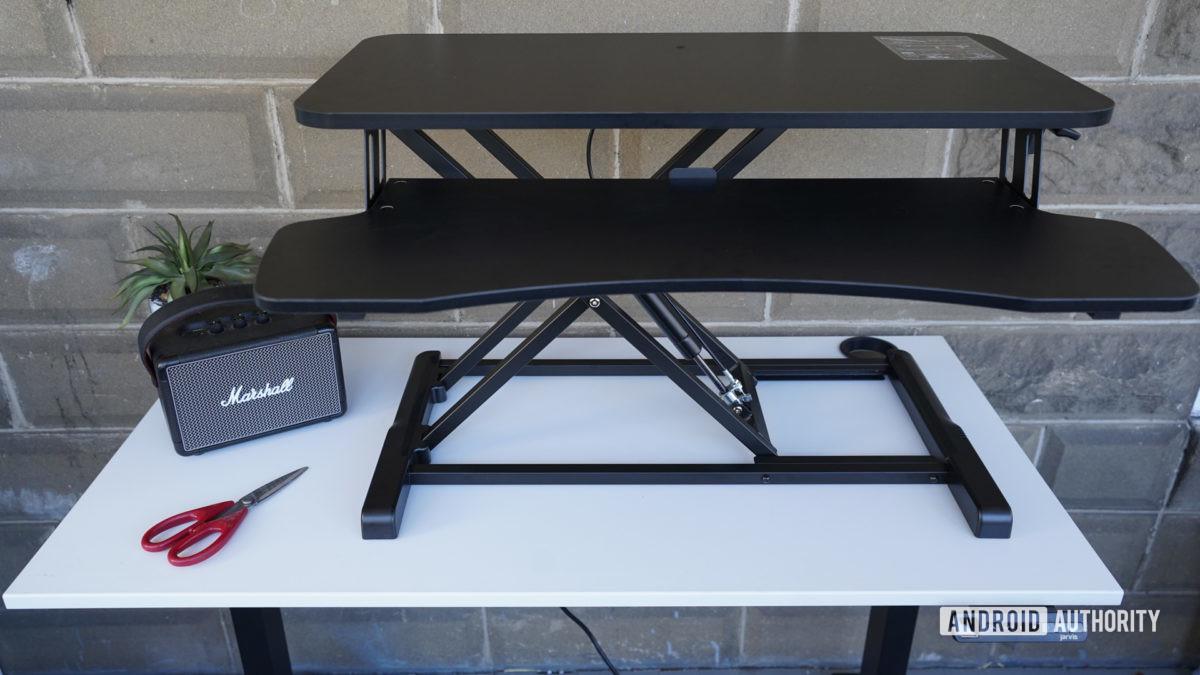 Vivo Desk V000K Desk Riser standing half way