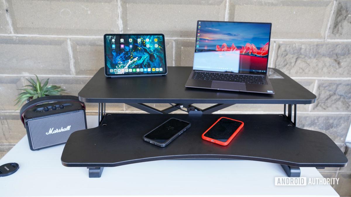 Vivo Desk V000K Desk Riser half way up