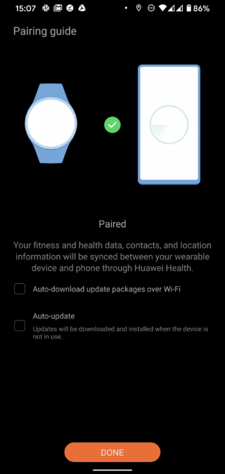 Huawei Health app Huawei Watch Fit paired
