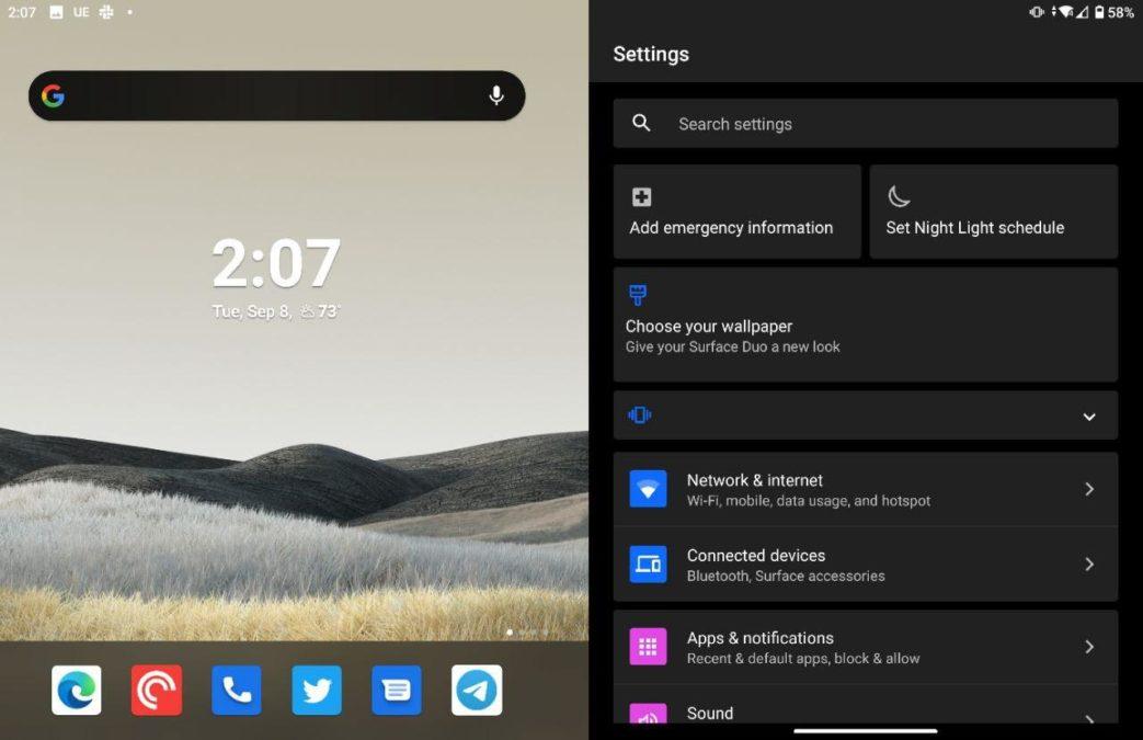 Microsoft Surface Duo settings menu