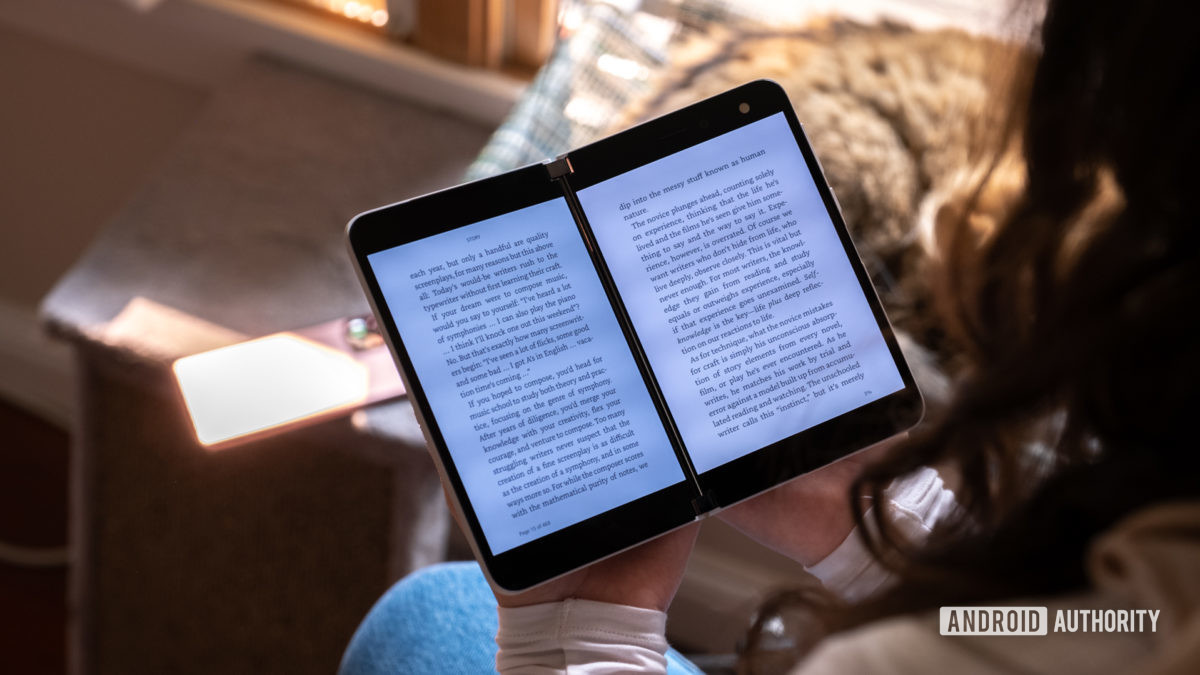 Microsoft Surface Duo reading Kindle