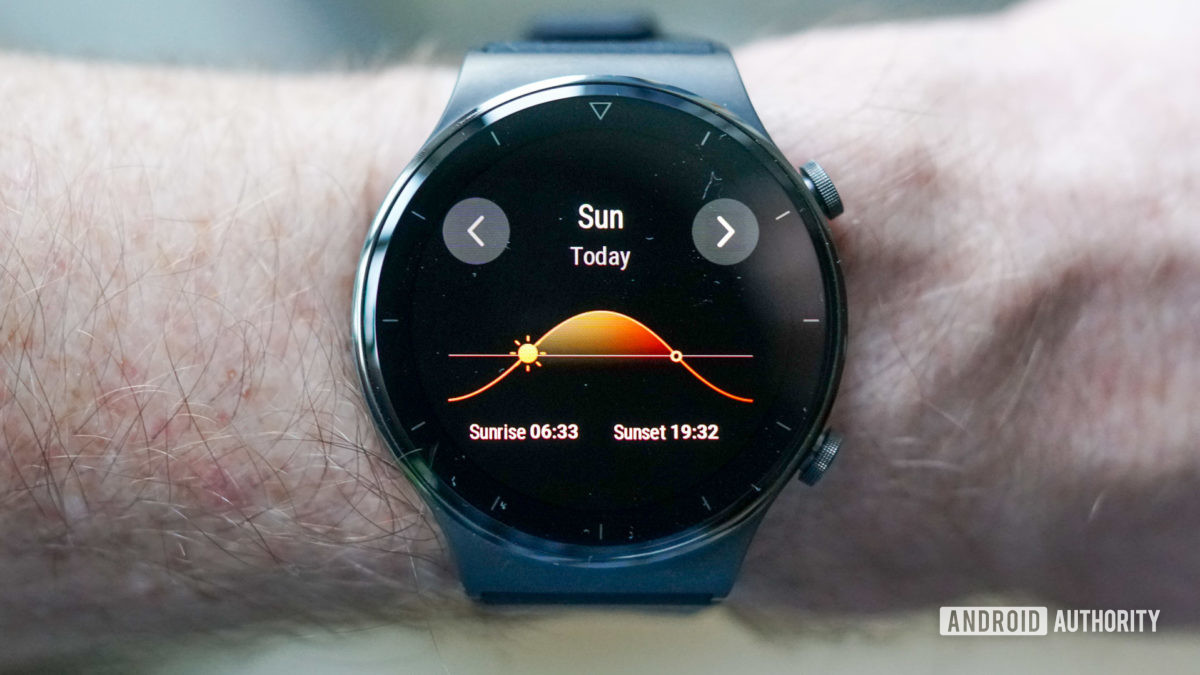 Huawei Watch GT 2 Pro sunrise and sunset time