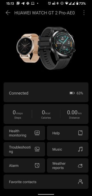 Huawei Health Huawei Watch GT 2 Pro dashboard screen
