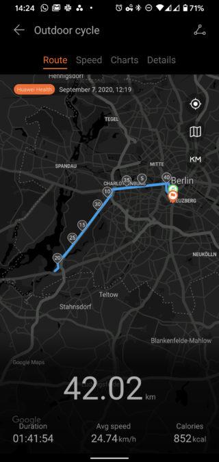 Huawei Health Huawei Watch GT 2 Pro cycle route