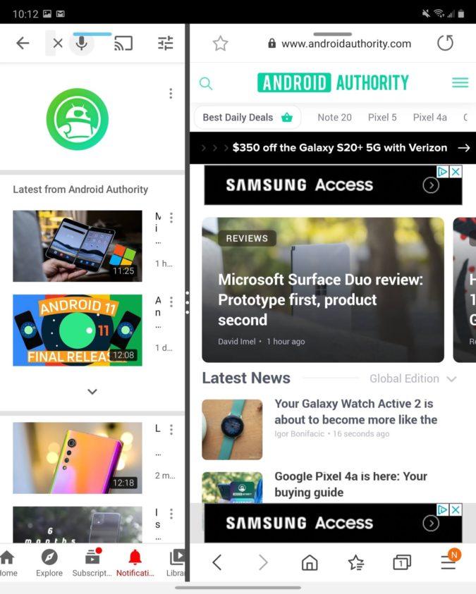 Samsung Galaxy Z Fold 2 Main Display multitasking