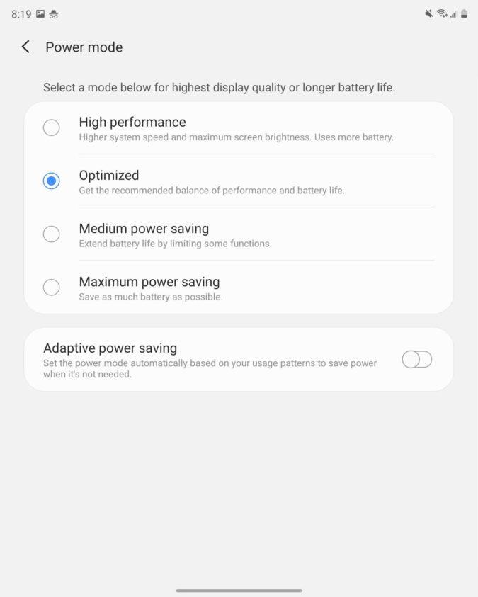 Samsung Galaxy Z Fold 2 Main Display Power mode