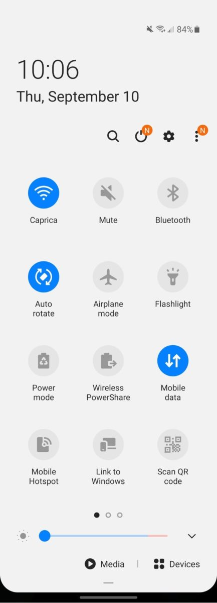 Samsung Galaxy Z Fold 2 Cover Display Quick Settings