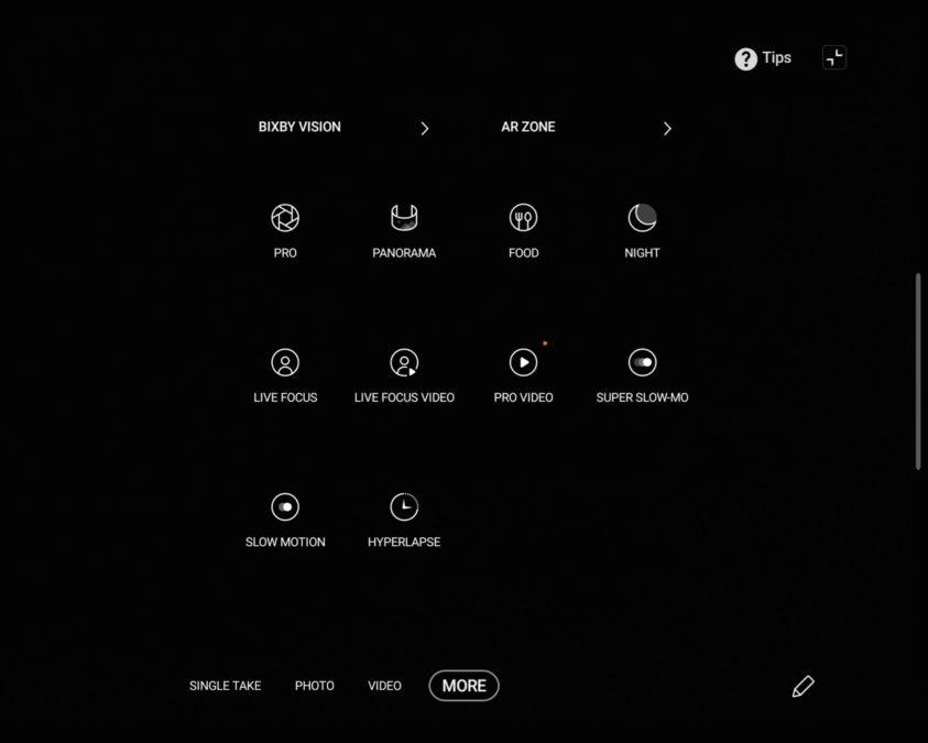 Samsung Galaxy Z Fold 2 Main Display camera modes