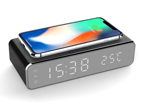 Just $25, this alarm clock has a wireless charger on top