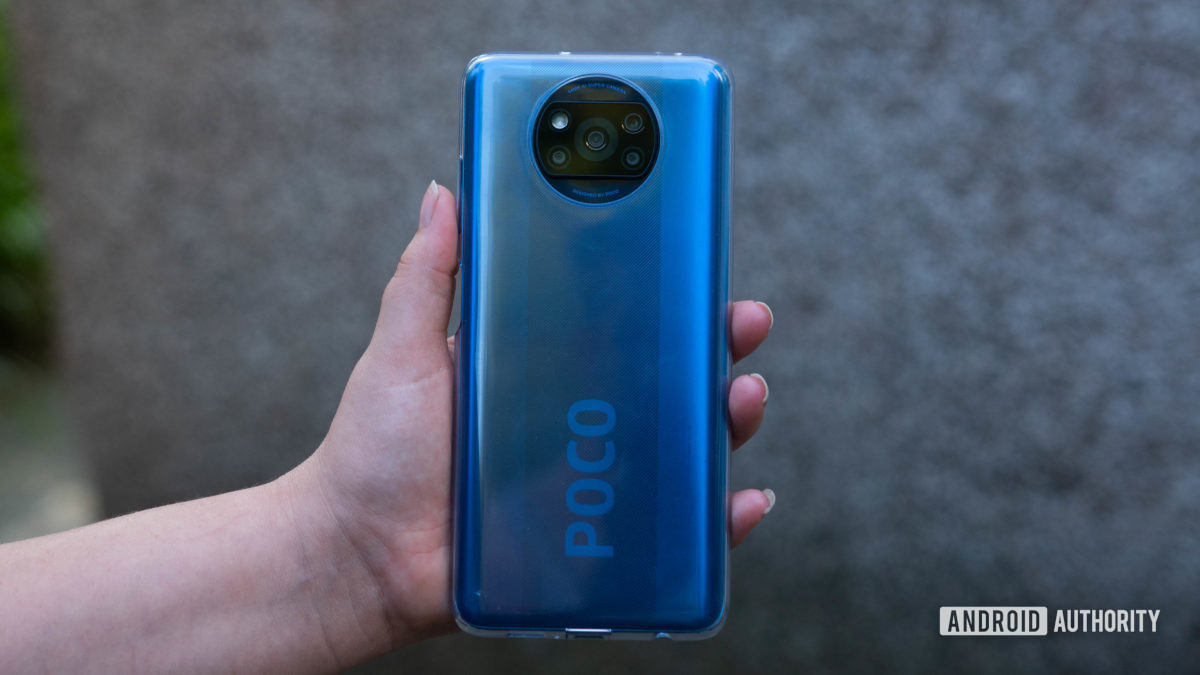 Xiaomi Poco X3 NFC in its included case