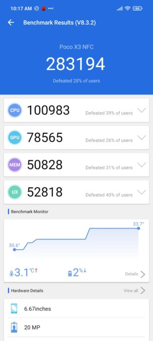 Xiaomi Poco X3 NFC Antutu