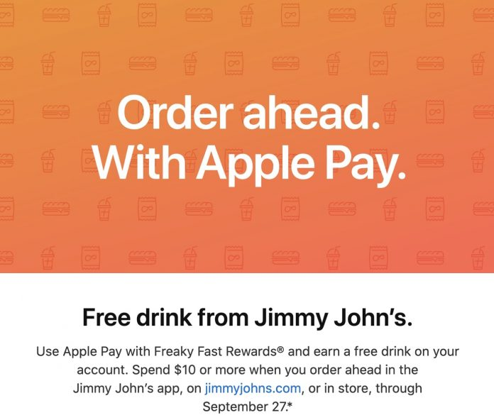 Apple Pay Promo Offers Free Drink With Purchase From Jimmy John's